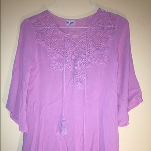 pink floral lace tunic